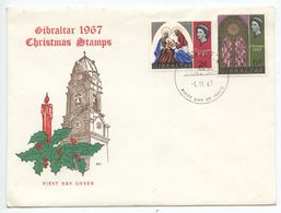 Gibraltar 1967 FDC Scott 203-204 Christmas - Holy Family & Church Window - Gibraltar