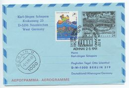 Greece 1991 1st Flight Cover / Aerogramme Lufthansa LH1575 Athens To Berlin - Postal Stationery