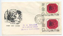 Guyana 1967 FDC Scott 26-27 World's Rarest Stamp - British Guiana Stamp Of 1856 - Guyana (1966-...)