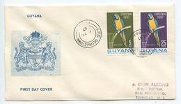 Guyana 1967 FDC Scott 33-33A Christmas - Millie The Bilingual Macaw - Guyana (1966-...)