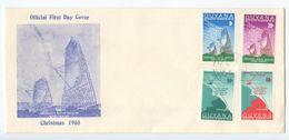 Guyana 1968 FDC Scott 64-67 Christmas - Communications Link With Trinidad - Guyana (1966-...)