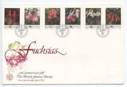 Isle Of Man 1988 FDC 371-376 British Fuchsia Society - Flowers - Isle Of Man