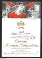 Etiquette De Vin 1985 MOUTON ROTHSCHILD Aquarelle De Paul DELVAUX - Illustrateurs & Photographes