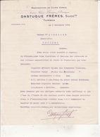 Manufacture De Cuirs Vernis DASTUGUE FRERES  Tarbes 5 Nov 1914 RV - Textile & Vestimentaire