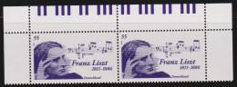 D 512) Deutschland MiNr 2846 (2) ** Bogenoberrand: Franz Liszt, Klavier Tastatur - Musik