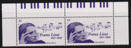 D 512) Deutschland MiNr 2846 (2) ** Bogenoberrand: Franz Liszt, Klavier Tastatur - Muziek