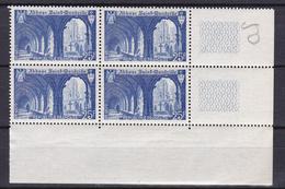 N° 842 Monuments Et Sites: Abbaye De Wandrille: Un Bloc De 4 Timbres Neuf Impeccable - Ungebraucht