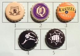 Lot N° 20-1 : 5 Capsules De Bière (parfait état - Pas De Trace De Décapsuleur) Beer - Cerveza - Birra - Bière