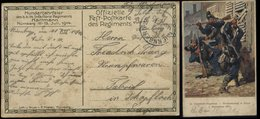 S6805 - DR WW I Militär Feldpost Postkarte AK Soldaten 14. Infanterie Regiment Straßenkampf Im Balan 1870 : Gebraucht - Lettres & Documents