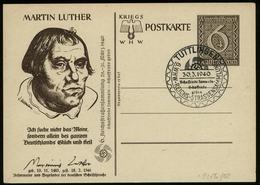 S6685 - DR WHW GS Postkarte ,Martin Luther, Mit KdF Zudruck: Gebraucht Mit Sonderstempel Tuttlingen 1940 - Ganzsachen