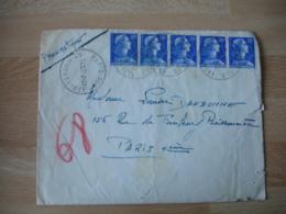 Lettre Pneumatique Paris 100 Dld Murat Bande 5 Timbre Marianne Muller 20 C - Marcophilie (Lettres)