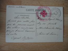 Hopital Auxiliaire Hotel Beau Site Aix Les Bains   Cachet Franchise Postale Guerre 14.18 - Marcophilie (Lettres)