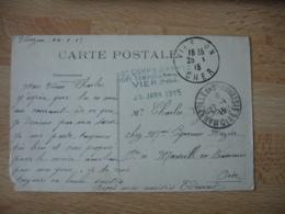 Hopital Temporaire  Vierzon  Cachet Franchise Postale Guerre 14.18 - Guerre De 1914-18