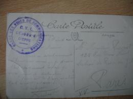 G V C Groupe De Dieppe Gare Des Voies Communications  Cachet Franchise Postale Guerre 14.18 - Marcophilie (Lettres)