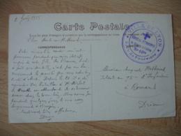 Hopital Municipal Blesses Militaires 16 Bis   Lyon  Cachet Franchise Postale Guerre 14.18 - Poststempel (Briefe)