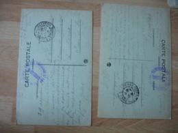 Lot De 2 Saint Etienne Hopital Auxiliaire 165  Cachet Franchise Postale Militaire Guerre 39.45 - Marcophilie (Lettres)