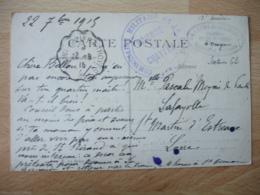 Gare De Brienne Le Chateau Commission Militaire   Cachet Franchise Postale Militaire Guerre 14.18 - Marcophilie (Lettres)
