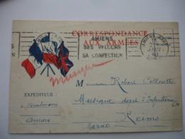 Carte Correspondance 3 Drapeaux Vive La France  Cachet Franchise Postale Militaire Guerre 39.45 - Marcophilie (Lettres)