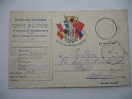 Guerre 14.18  Carte Correspondance  5 Drapeaux  Gloire Armees Alliees  Franchise Postale - Marcophilie (Lettres)