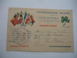 Guerre 14.18  Carte Correspondance  6 Drapeaux  Allies  Ambulance Trefle 4 Feuilles - Marcophilie (Lettres)