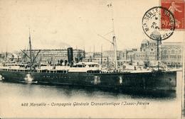 FRANKREICH - MARSEILLE - 1907 , Transatlantik-Dampfer  Isaac-Pereire - Paquebots