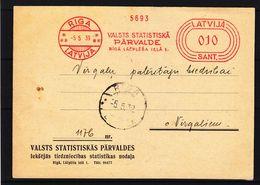 Lettonie - Carte Postale De 1939 - Oblit Riga - EMA - Empreintes Machines - Lettonie