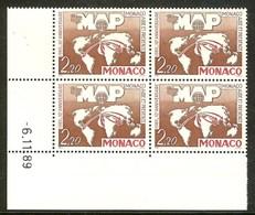 MONACO N°1704** Bloc Coin Daté De 4 Valeurs (6/11/1989) - COTE 12.40 € - Nuovi