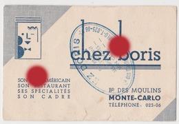 MONTE-CARLO  CHEZ BORIS  Bar Restaurant Vers 1950 - Publicités