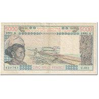 Billet, West African States, 5000 Francs, 1991, Undated (1991), KM:108Ar, TTB - États D'Afrique De L'Ouest
