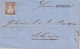 SUISSE 1863 LETTRE CACHET LINEAIRE DE ENNENDA - 1862-1881 Helvetia Assise (dentelés)