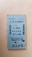 Ticket Suisse - Genève Corsier - 1911 - état : Comme Sur Les Photos - Bahn