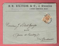 OJ - Lettre Commerciale - Oblitération Elliptique Bruxelles 1881 Sur N°28 Vers Bordeaux - France - 1869-1883 Léopold II
