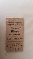 Ticket Suisse - Genève Bière Et Retour - 1911 - état : Comme Sur Les Photos - Bahn