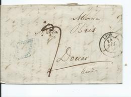 Lettre De Lyon Pour Douai  1838 - 1801-1848: Précurseurs XIX