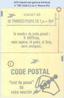FRANCE - Carnet Conf. 8 - 1f70 Liberté Vert - YT 2318 C1 / Maury 452 - Carnets