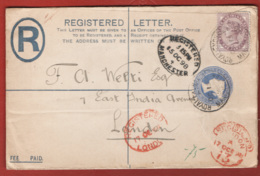 Gran Bretagna1898 Registered Letter 2p. + 1 P.15/10/98 To London VF/F - Interi Postali