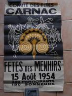 Affiche Ancienne Originale Carnac Fête Des Menhirs Illustration Jean Yves Roche - Affiches