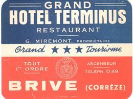 ETIQUETA DE HOTEL  - GRAND HOTEL TERMINUS  -BRIVE (CORREZE)  -FRANCIA - Etiquetas De Hotel
