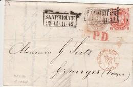 PRUSSE-FORBACH 23 Décembre 1867 En Rouge Avec T16 Et T20, Entrée Par Courrier-convoyeurs-ambulants   Réf  1038 Noël - Prusse