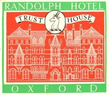 ETIQUETA DE HOTEL  - RANDOLPH HOTEL  -OXFORD -INGLATERRA - Etiquetas De Hotel