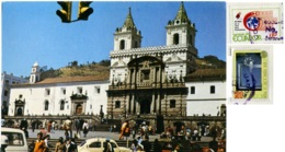 ECUADOR  QUITO  Templo Y Plaza Coloniales San S. Francisco  Auto Car WV Kafer  Jeep  Nice Stamps - Ecuador