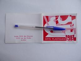 CALENDRIER De POCHE 1983 Classe ARTS PLASTIQUES Lycée C.E.S. Des CHAUMES Rue Des ECOLES à AVALLON 89 - Kalenders
