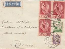 Portugal Lettre COSTA DA CAPARICA 8/9/1942 à Denis Castelnau D' Estrefonds Haute Garonne Passe Lisboa Aero + Central - 1910-... République