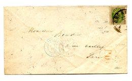 Danemark N°20 Sur Lettre Pour Paris - Cachet D'entrée Bleu - Cote 1100€ - (W1209) - Lettere