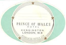 ETIQUETA DE HOTEL  - PRINCE OF WALES HOTEL -KENSINGTON  -LONDON - Etiquetas De Hotel