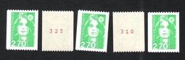 FRANCE 1996 MARIANNE DE BRIAT YT N° 3008a 2,70  5 Numéros Différents De Roulette Neufs. - 1989-96 Marianne Du Bicentenaire