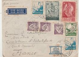 Portugal Lettre COSTA DA CAPARICA 24/7/1942 à Chataigner Castelnau  Estrefonds Haute Garonne Passe Lisboa Aero + Central - 1910-... République