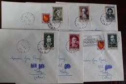 1957   -     SERIE  DES  PERSONNAGES  ILLUSTRES  SUR   6   ENVELOPPES  AYANT  CIRCULEES - France