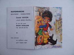 CALENDRIER De POCHE 1987 Poulbot Montmartre Barbadienne RAPIDMARCHE Daniel VOILOT à AVALLON 89 - Calendriers