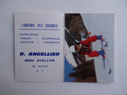 CALENDRIER De POCHE 1983 Skieur Ski Librairie Des CHAUMES R. ANGELLIER à AVALLON 89 - Kalenders